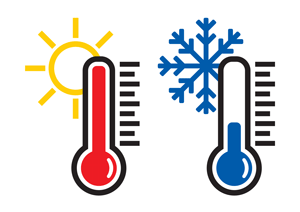 Image of two thermometers one hot and one cold